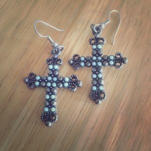 Jewelry - Vintage turquoise colored cross earrings